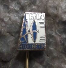 Antique Tesla Hloubetin TV Television Satellite Dish Broadcasting Firm Pin Badge