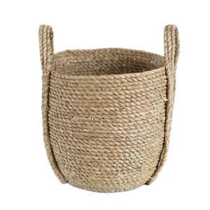 Straw Storage Plant Pot Flower Basket Woven Decorative Home Garden Planter S