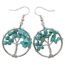 Natural Turquoise Dangle Hoop Earrings Handcraft Jewelry Gifts Women Mom CAE01
