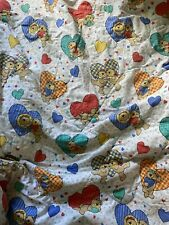 ~Vintage teddy bear rainbow hearts stars comforter blanket bedding twin