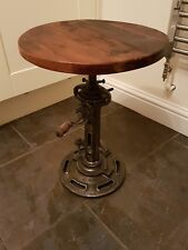 Industrial Style Iron Side Table / Stool Working Gears Adjustable Height