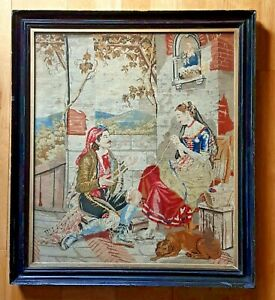 ANTIQUE LARGE FRAMED BERLIN WOOL WORK NEEDLEPOINT ROMANTIC TAPESTRY 28X25 INCHES