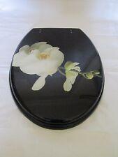 Black Resin Novelty toilet seat w/ white flower finish and Chrome finish Hinges