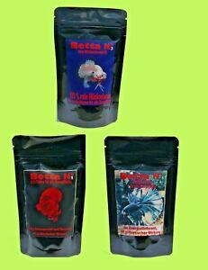 Betta Nr 1+2+3 Kampffisch Fischfutter je 100 ml Krill,Octopus, rote Mückenlarven
