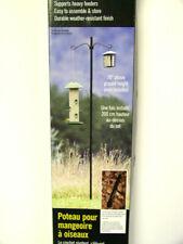 "New listing Stokes Bird Feeder Pole 78"" H, Metal w/ Ground Socket, Double Hanger Hook"