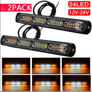 2x 24LED Car Truck Emergency Warning Hazard Flash Strobe Light Bar Yellow&White