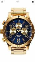 NIXON A4861922 Oro Azul 48-20 Cronógrafo Reloj Hombre Acero Inoxidable Watch Men