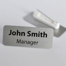Set Of 10 Personalised Name Badges. PVC. Metallic Silver Colour.