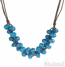 """Fossil Brand """"Global Nomad"""" Woven Blue Jade Beads Cord 26"""" Necklace $58"""