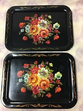 """Vintage Black Tin Trays with Floral print 17-1/2' x 12-3/4"""""""