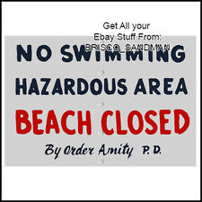 "Fridge Fun Refrigerator Magnet JAWS MOVIE ""BEACH CLOSED"" Sign Amity P.D. Retro"