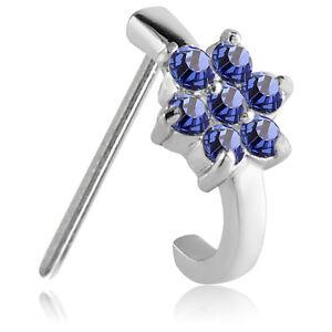 316L Surgical Steel Straight Nose Stud Ring Flower CZ Nose Hugger 20 Gauge 20G