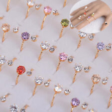 50/100pcs Wholesale Lots Colorful Crystal Women Ring Jewelry Party Accessoy