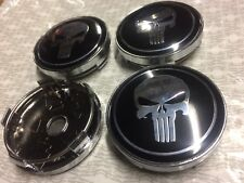 4x Punisher Skull Wheel Centre Cap Set New Style 3D Hub Cap Black/Silver 60mm