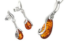 925 Sterling Silver Dops Set Pendant Earrings Natural Amber Jewellery Jewelry