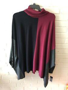 New Alfani Women's Turtleneck Pullover Sweater Poncho  Color Block  3X  U18