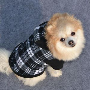 AU_ Winter Black White Plaid Puppy Pet Dog Hoodie Hooded Sweatshirt Pullover Lat