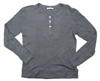 Threads 4 Thought Waffle Knit Solid Color Snap Front Henley Shirt M NWT Grey