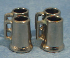 Four Small Pewter Tankards, Dolls House Miniature Drink Cup Pub Kitchen Dining
