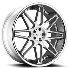 "4ea 24"" Staggered Azad Wheels AZ77 Brushed Face with Chrome SS Lip Rims(S1)"