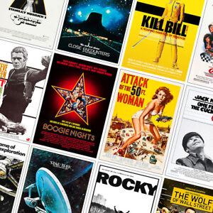 BEST VINTAGE CLASSIC MOVIE POSTERS PRINTS - A4 - A3 - A2 - Bullitt, Rocky, Mask