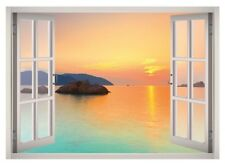 Island Sunset View Window 3D Wall Decal Art Mural Home Decor Canvas Vinyl W12