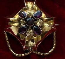 Antique Victorian Locket Mourning Brooch Faceted Almandine Garnet 15c Gold Swags