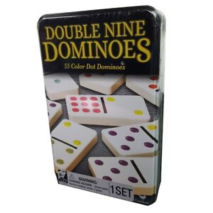 Cardinal Dominoes Double 9 Coloured In Tin