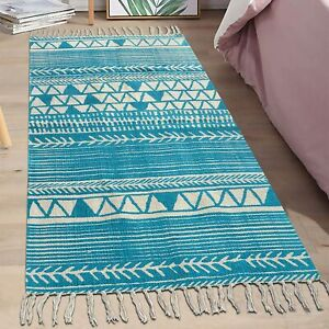 Hand Knotted 2x5 Feet Geometric Cotton Runner Match Beautifully With Any Decor