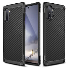 For Samsung Galaxy Note 10/Plus Case Black Carbon Fiber TPU Armor Hard Cover