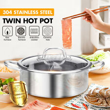 New listing 32 cm Stainless Steel Shabu Dual Sided Cooking Soup Hot Pot Silver + Glass Lid