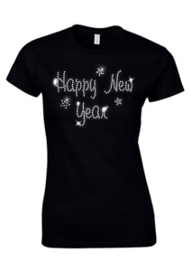 HAPPY NEW YEAR Ladies Fitted T Shirt Christmas CRYSTAL DESIGN  (all sizes)