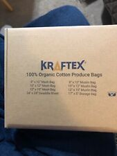 KRAFTEX Reusable Produce Bags in Organic cotton Reusable  (6 Pack)Biodegradable