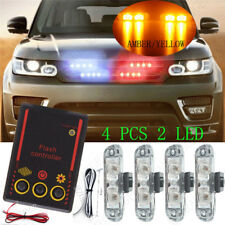 Amber Yellow 4X 2LED Control Car Truck Emergency Warning Strobe Flash Lights Bar