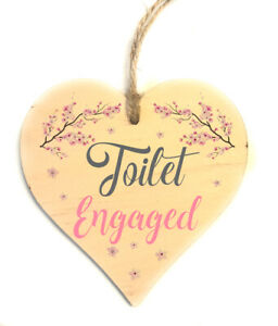 Toilet Engaged Vacant Double Sided Wooden Hanging Door Sign Decorative Plaque