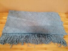 Bourina Blue Throw Blanket Textured Solid Soft Sofa Couch Decorative Knit