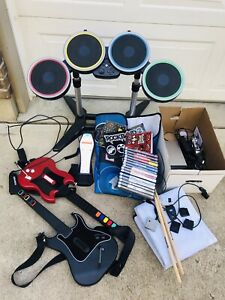 Bundle Lot Rock Band 2 Guitar Hero Foot Pedal Drum Set PS2 GAMES Console + More
