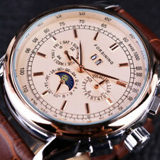 Watch Moon Phase Shanghai Movement Rose Gold Case Brown Genuine Leather Strap