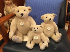 1985 Steiff Collector's Edition, set 3 white bears, leather paws Margaret Strong