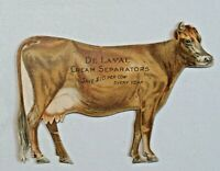 Rare Vtg. Advertising Trade Card Cow Shaped De Laval Cream Separators 2pc. 6723