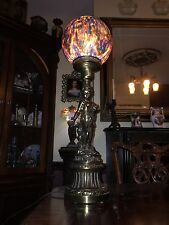 Cherub Lamp With Painted Shade