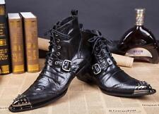Men Pointy Metal Pointy Toe Rivet Buckle Strap Lace up Punk Ankle Boots Gothic