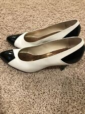 Vintage Original Italian Authentic Leather Heels- Black and White Size 7B-Evins