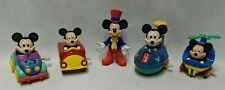 Vintage Lot of 5x Disney Mickey Mouse Toy Figures Epcott + Wind-Up Cars