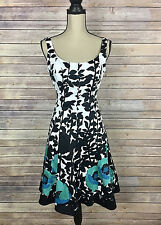 Nine West Womens Dress Fit & Flare Sleeveless Black White Floral Leaf Size 6