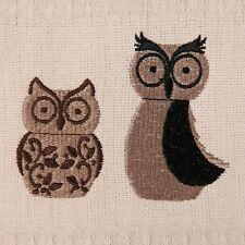 Owl Embroidered Waffle Tea Towels 100% Cotton 44 x 66 cm