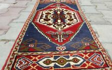 """Antique 1940-1950s Tent- Woven 1'6''x3'2"""" Natural Dyes Wool Pile Tribal Rug"""