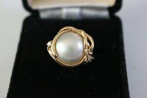 MABE PEARL RING 14K YELLOW GOLD 2 DIAMONDS SIZE 6 1/2