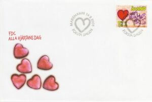 Valentines Day Red Love Heart Aland Island Finland Mint FDC 2001