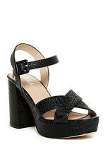 J/Slides Womens Tempest Block Heels Shoes Black Embossed Leather 10 New